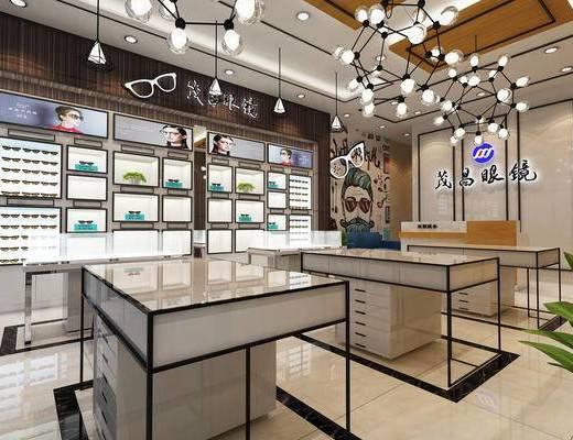 眼镜店, 店铺, 展柜, 吊灯, 眼镜