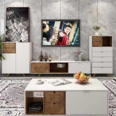 电视柜组合, 边柜组合, 边柜茶几, 摆件组合, 现代