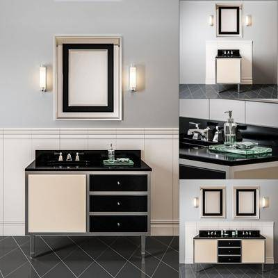 洗手台, 柜子, 浴镜, 壁灯, 组合, 现代