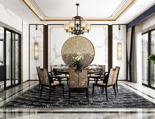 餐厅, 桌椅组合, 餐桌, 餐椅, 单人椅, 餐具, 吊灯, 壁灯, 绿植植物, 新中式