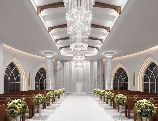 西式婚礼, 宣誓教堂, 单人椅, 壁灯, 吊灯, 水晶吊灯, 花卉, 新古典