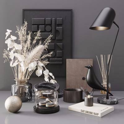 摆件组合, 书籍, 花瓶, 植物