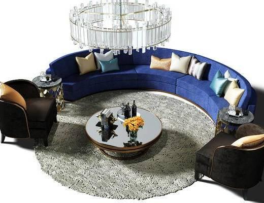 沙发椅, 地毯, 吊灯, 水晶吊灯, 茶几, 盆景, 植物, 弧形沙发, 摆件, 陈设品, 现代