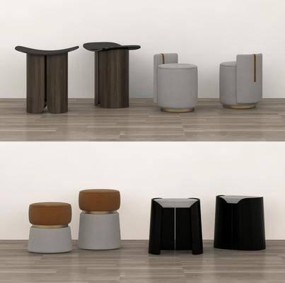 现代凳子, 圆凳, 沙发凳, 单椅, 皮凳