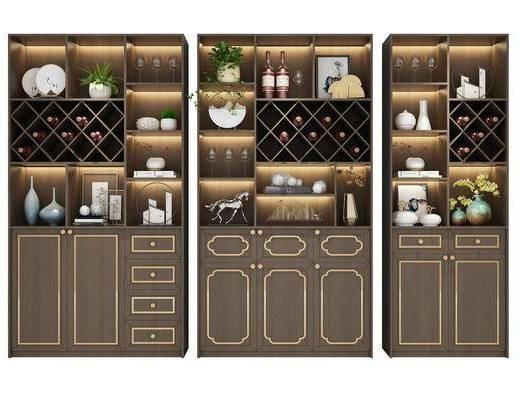 酒柜组合, 装饰柜, 摆件, 装饰品, 陈设品, 新中式