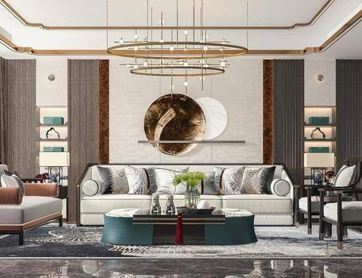 新中式客厅, 沙发, 茶几, 吊灯