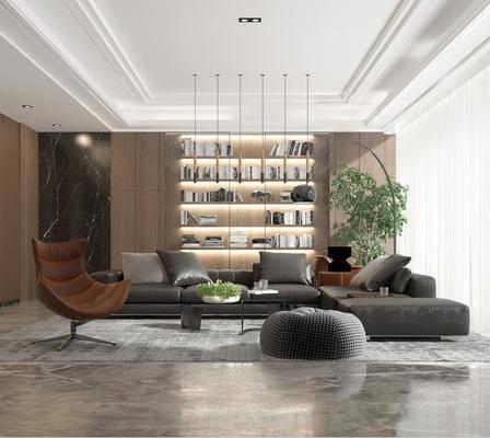 沙发组合, 多人沙发, 转角沙发, 落地灯, 盆栽, 绿植植物, 书柜, 书籍, 单人椅, 茶几, 脚踏沙发, 摆件, 装饰品, 陈设品, 装饰柜, 吊灯组合, 现代