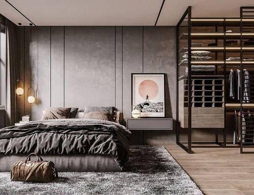 双人床, 吊灯, 床具组合, 衣柜, 屏风, 梳妆台