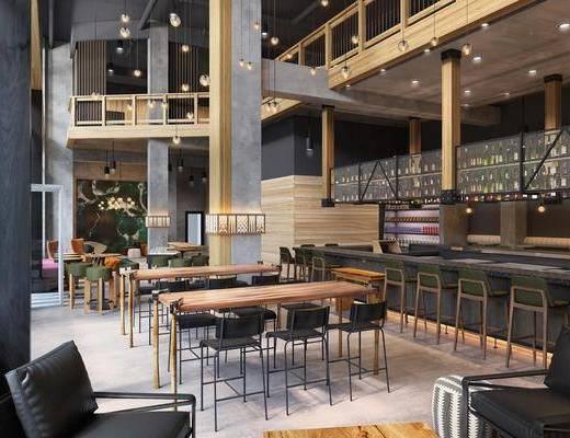 餐厅, 工业风餐厅, 桌椅组合, 沙发组合, 茶几, 吧台, 吧椅, 混泥土, 吊灯, 工业风, 置物架