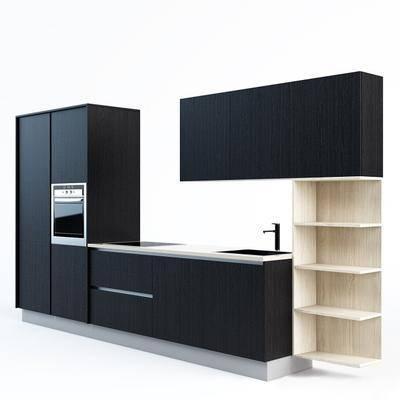 橱柜, 柜架组合, 烤箱, 洗手盘, 现代, 现代橱柜