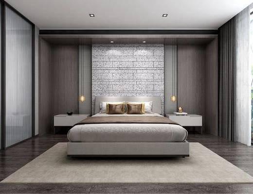 卧室, 双人床, 床头柜, 吊灯, 多人沙发, 转角沙发, 凳子, 茶几, 台灯, 现代