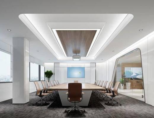会议室, 桌椅组合, 盆栽植物, 投影仪