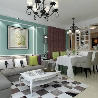 地中海, 客厅, 沙发组合, 沙发茶几组合, 餐桌椅, 椅子