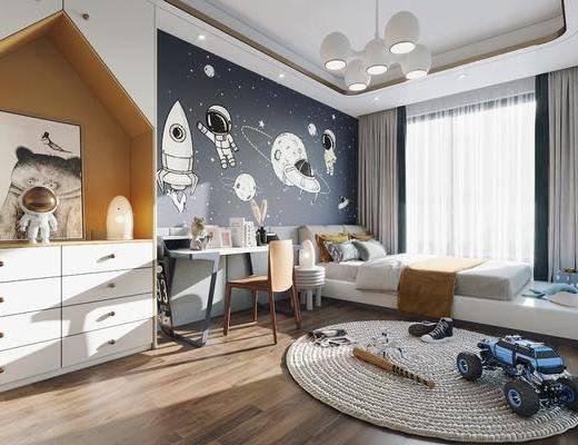现代, 儿童, 卧室, 家装