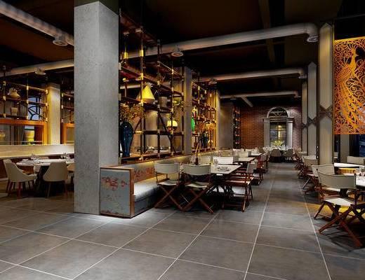 工业风餐厅, 农家餐厅, 餐桌椅, 装饰