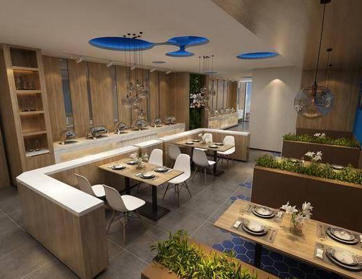 湘菜馆, 中餐厅, 餐桌椅组合, 挂画组合, 中式