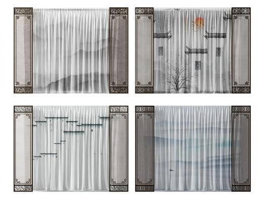 花格窗帘, 窗帘组合, 新中式