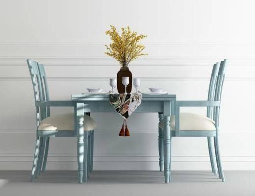 餐桌, 餐椅, 单人椅, 装饰品, 新古典