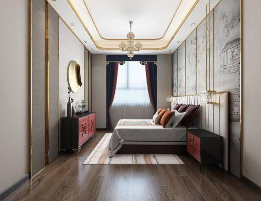 卧室, 双人床, 床头柜, 吊灯, 装饰柜, 边柜, 摆件, 装饰品, 陈设品, 花瓶, 花卉, 新中式