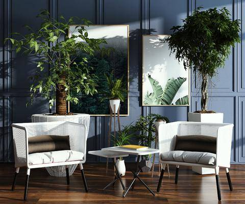 休闲椅, 单椅, 植物, 装饰画