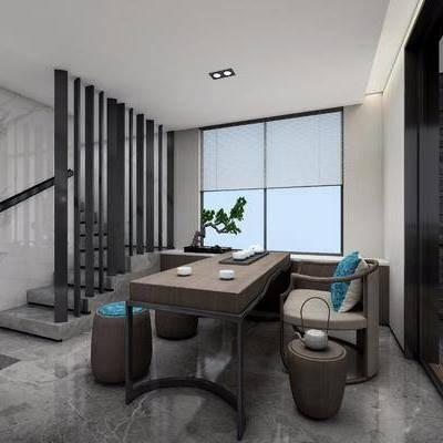 茶室, 现代, 书桌, 茶桌, 单椅, 凳, 茶具, 植物, 盆栽