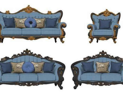 欧式古典雕花沙发