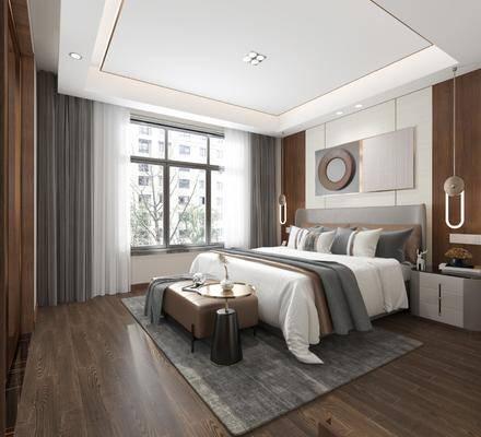 双人床, 床尾踏, 地毯, 床头柜, 吊灯, 墙饰