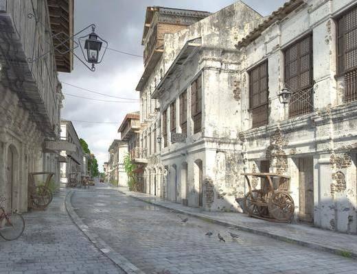 国外街道, 公共建筑, 门面门头, 壁灯, 自行车, 树木, 绿植植物, 欧式