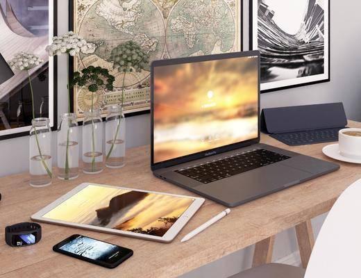 电脑, 书桌, 单人椅, 装饰画, 挂画, 壁画, 摆件, 装饰品, 陈设品, 现代