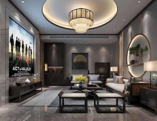 影音室, 沙发组合, 茶几, 单椅, 墙饰, 边几, 台灯