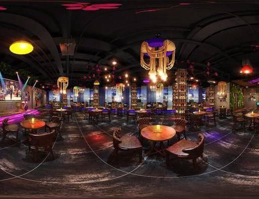 时尚酒吧, 工装全景, 桌子, 单人椅, 吊灯, 装饰画, 组合画, 酒柜, 酒瓶, 植物墙, 工业风