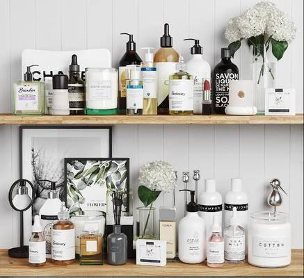 化妆品组合, 日常用品, 摆件组合, 洗漱用品