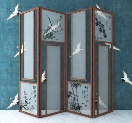 实木屏风, 新中式
