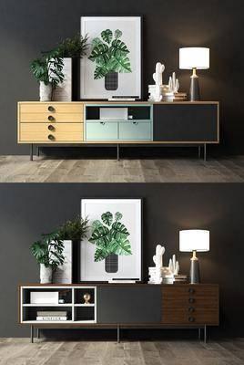 电视柜, 边柜组合, 装饰画, 挂画, 摆件, 装饰品, 陈设品, 台灯, 现代
