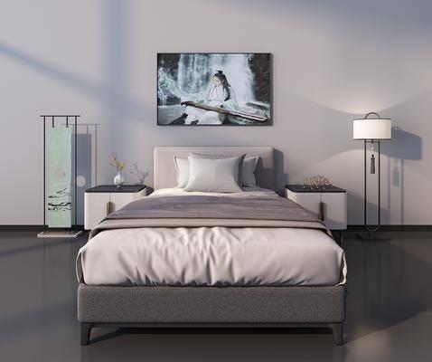 中式床头柜, 中式双人床, 落地灯
