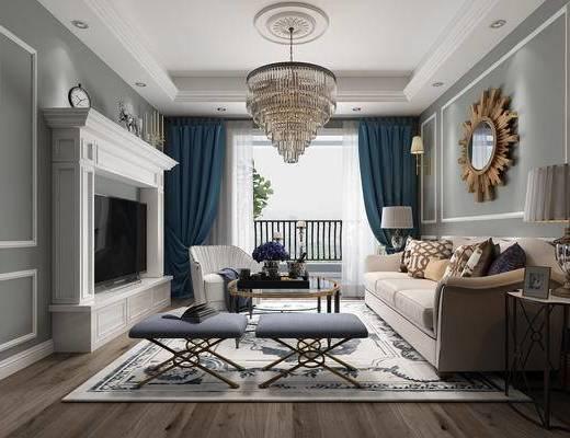 客厅, 壁炉, 吊灯, 沙发, 茶几, 镜子, 台灯