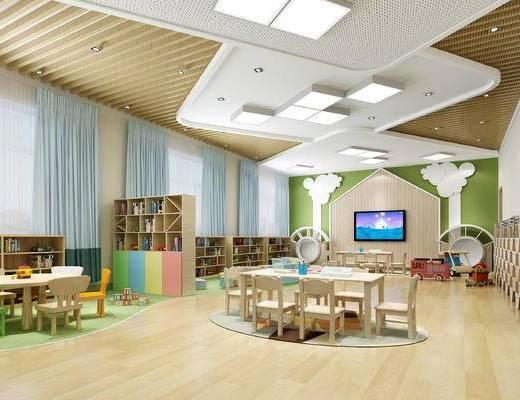 现代, 儿童, 幼儿园, 活动室, 桌椅, 儿童桌椅, 置物柜, 玩具, 陈设品