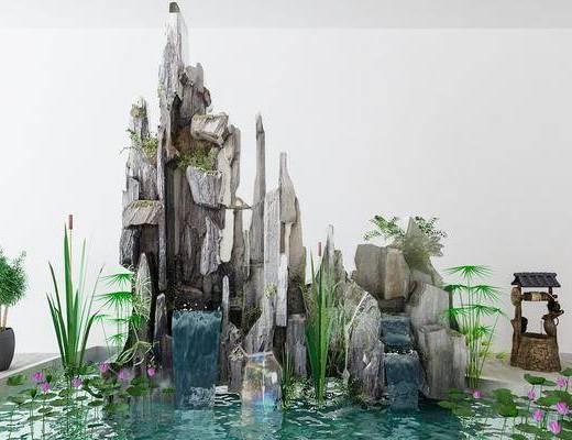 景观小品, 园艺小品, 石头, 盆栽, 新中式