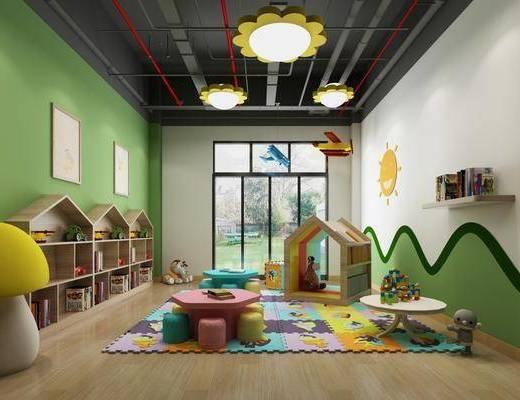 幼儿园, 桌椅组合, 装饰柜, 摆件组合, 玩偶组合, 活动室, 儿童游乐, 现代