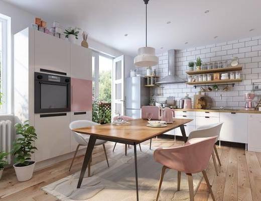 厨房, 餐厅, 餐桌, 餐椅, 单人椅, 橱柜, 厨具, 置物架, 洗手台, 盆栽, 绿植, 摆件, 装饰品, 陈设品, 吊灯, 冰箱, 休闲椅, 北欧