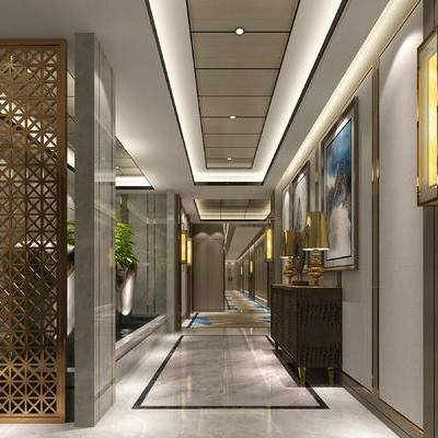 新中式, 现代, 金属, 隔断, 玄关柜, 壁灯, 走廊, 过道, 酒店