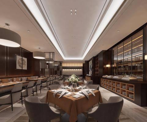 自助餐厅, 洽谈会客, 餐桌, 餐椅, 单人椅, 餐具, 装饰柜, 卡座, 吊灯, 装饰画, 挂画, 新中式