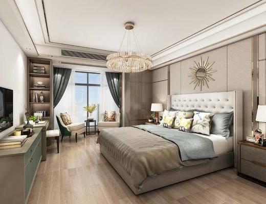 现代, 卧室, 双人床, 灯具, 墙饰, 装饰柜, 休闲椅