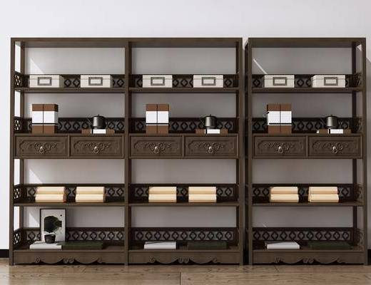 书柜书架, 博古架, 展示柜, 陈列柜, 货架, 摆件组合, 新中式