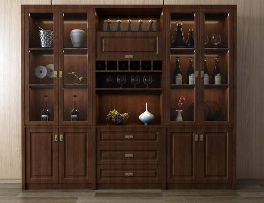 中式酒柜, 酒柜, 置物柜