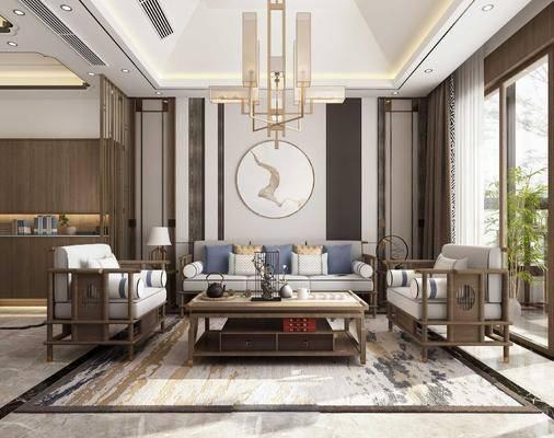 新中式客厅, 客厅, 餐厅, 沙发组合, 餐桌椅