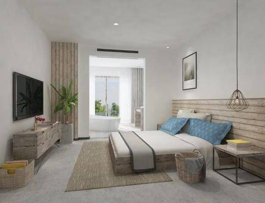 现代, 卧室, 双人床, 挂画, 吊灯, 边几, 电视关于, 盘栽, 浴缸