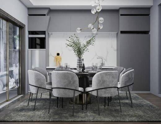 餐桌, 桌椅组合, 花瓶, 橱柜组合