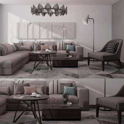 沙发组合, 现代布艺沙发组合, 茶几, 落地灯