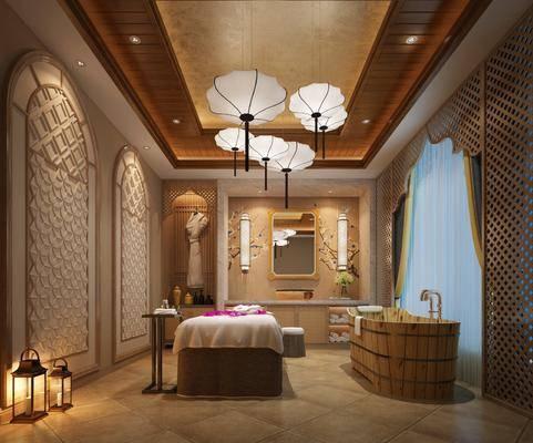 SPA养生会所, 按摩床, 浴缸, 装饰镜, 壁灯, 吊灯, 新中式